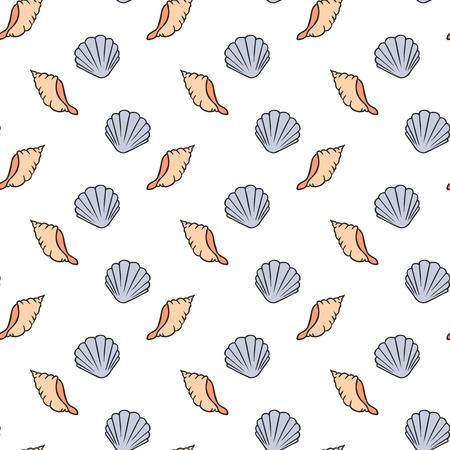 A Seamless pattern of seashells  vector illustration. Hand drawn illustration Illustration