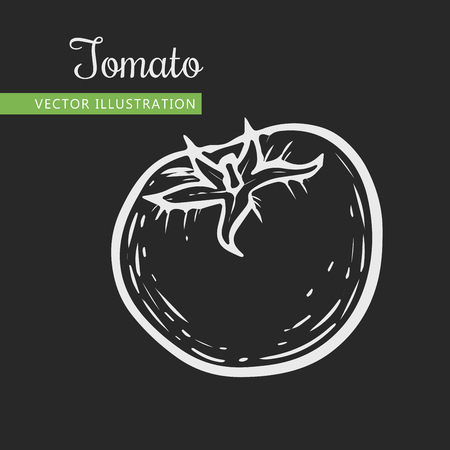 Vegetarian food. Hand drawn isolated tomato.  Vector vintage vegetables illustration.  Can be used for wrapping paper, street festival, farmers market, country fair, shop, menu, cafe, restaurant