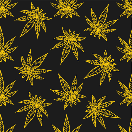 Marijuana leaf vector seamless pattern, cannabis engraving plant.