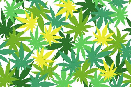 Marijuana leaf vector seamless pattern.  Cannabis engraving plant.