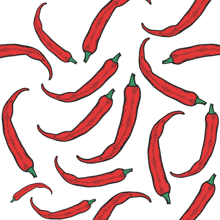 Hot chili peppers seamless pattern.