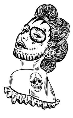 Mexican Day of the dead. Santa muerte girl vector illustration. Traditional mexican halloween dia de los muertos holiday party. Decoration banner invitation