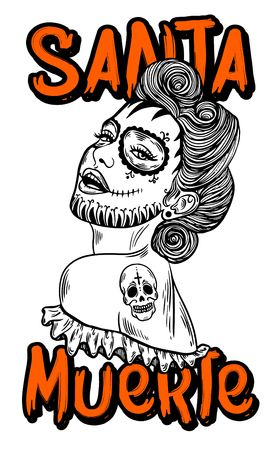 Mexican Day of the dead. Santa muerte girl vector illustration. Traditional mexican halloween dia de los muertos holiday party. Decoration banner invitation