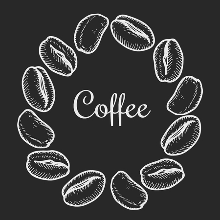 Vector wreath with coffee bean  on black background. Vintage hand drawn bages set. Illustration for menu, ads