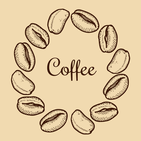 Vector wreath with coffee bean  on beige background. Vintage hand drawn bages set. Illustration for menu, ads