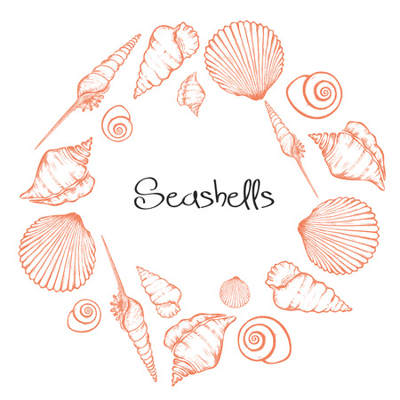 Vector wreath with hand drawn seashells.  Marine background in engraved style. Hand drawn underwater vector illustration with seashells. Standard-Bild - 115477765