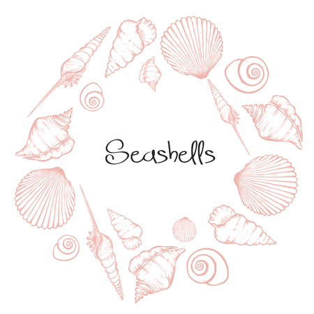 Vector wreath with hand drawn seashells.  Marine background in engraved style. Hand drawn underwater vector illustration with seashells. Standard-Bild - 115477767