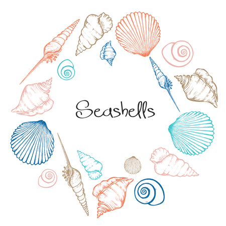 Vector wreath with hand drawn seashells.  Marine background in engraved style. Hand drawn underwater vector illustration with seashells. Banco de Imagens - 115477768