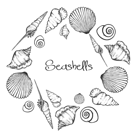 Vector wreath with hand drawn seashells.  Marine background in engraved style. Hand drawn underwater vector illustration with seashells.