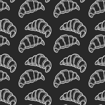 Vector  croissant engraving seamless patternon black  background.