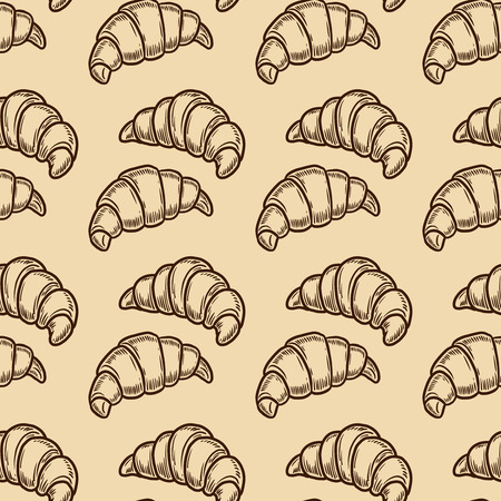 Vector  croissant engraving seamless pattern on beige background.