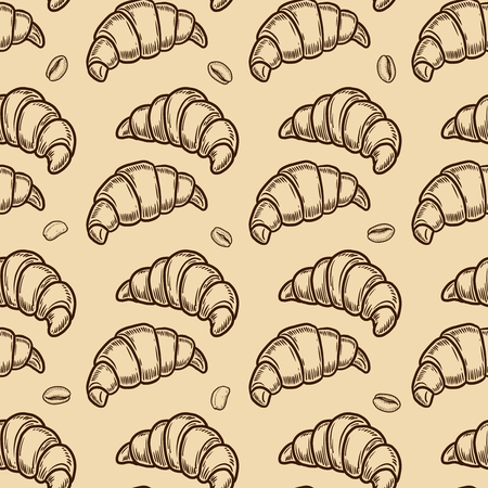 Vector  croissant and coffee bean engraving seamless pattern on beige background. Ilustração