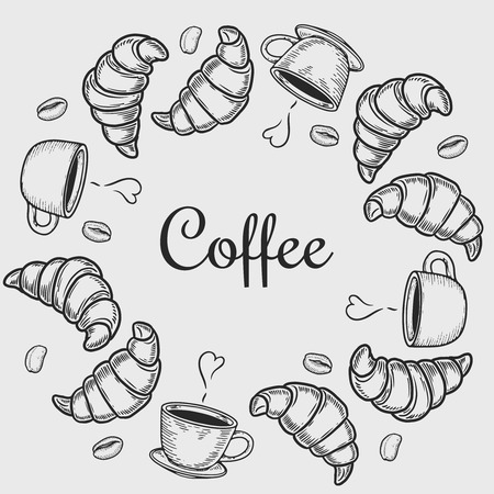 Vector  engraving wreath with croissant, cup and coffee bean on white background.
