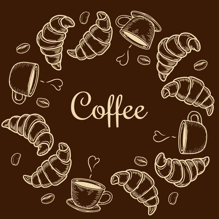 Vector  engraving wreath with croissant, cup and coffee bean on brown background. Standard-Bild - 127561431