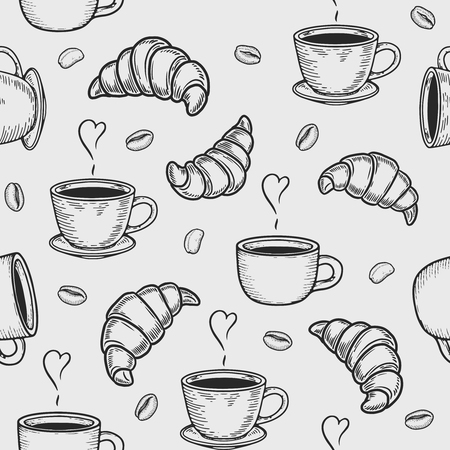 Vector croissant, cup and coffee bean engraving seamless pattern on white background. Vintage hand drawn bages set. Illustration for menu, ads