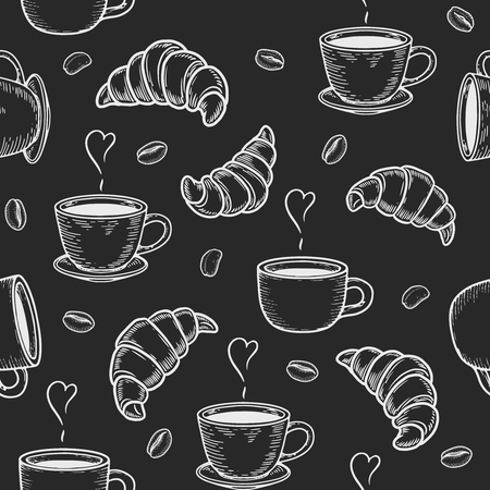 Vector croissant, cup and coffee bean engraving seamless pattern on black background. Vintage hand drawn bages set. Illustration for menu, ads Ilustração
