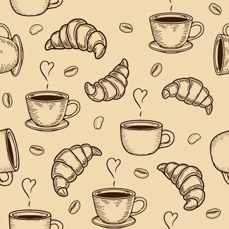 Vector croissant, cup and coffee bean engraving seamless pattern on beige background. Vintage hand drawn bages set. Illustration for menu, ads