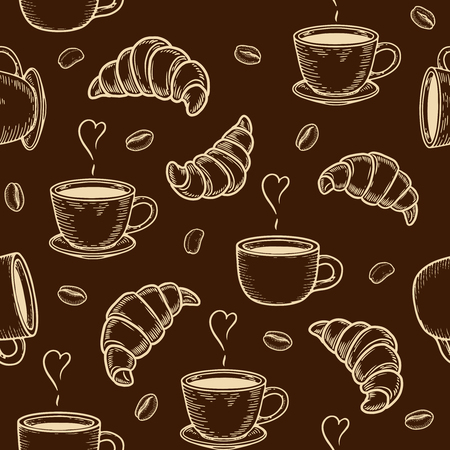 Vector  croissant and coffee bean engraving seamless pattern on brown background. Ilustração