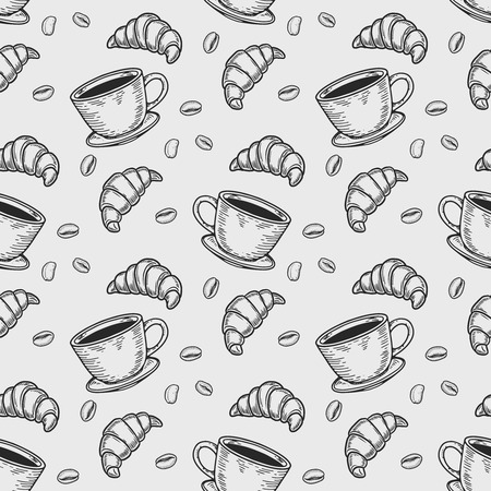 Vector  croissant and coffee bean engraving seamless pattern on white background.