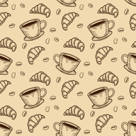 Vector  croissant, cup and coffee bean engraving seamless pattern on beige background.