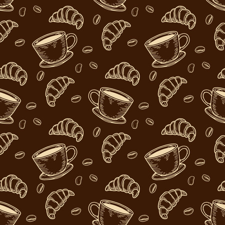 Vector  croissant, cup and coffee bean engraving seamless pattern on brown background. Ilustração