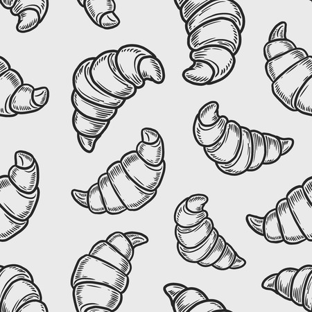 Vector  croissant engraving seamless pattern on white background. Ilustração