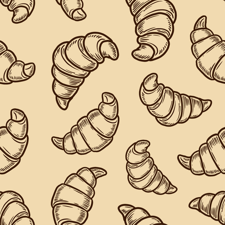 Vector  croissant engraving seamless pattern on beige background. Banco de Imagens - 127561480