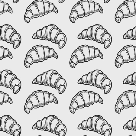 Vector  croissant engraving seamless pattern on white background.  イラスト・ベクター素材