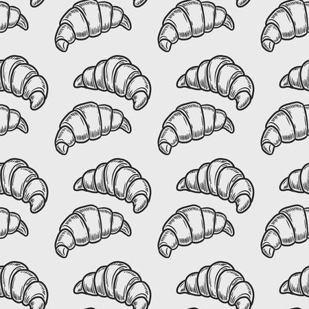 Vector croissant grabado de patrones sin fisuras sobre fondo blanco. Ilustración de vector