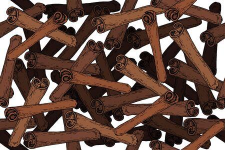 Vector  cinnamon engraving seamless pattern on white background. Vintage hand drawn illustration for menu, ads. Exotic spice. Ilustração