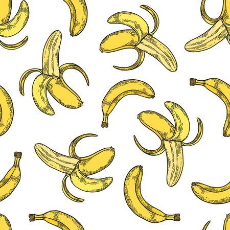 Vector  banana engraving seamless pattern on white background. Vintage hand drawn illustration for menu, ads Banco de Imagens - 143930097