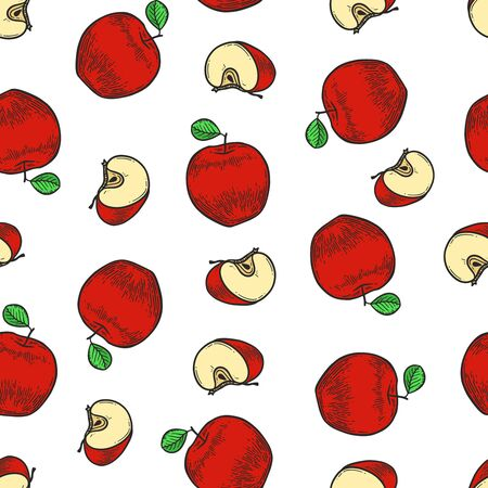 Vector  red apple  engraving seamless pattern on white background. Vintage hand drawn illustration for menu, ads Banco de Imagens - 143930099
