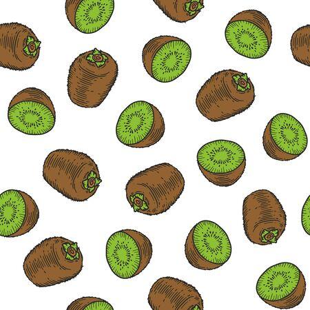 Vector  kiwi fruit  engraving seamless pattern on white background. Vintage hand drawn illustration for menu, ads Banco de Imagens - 143930103