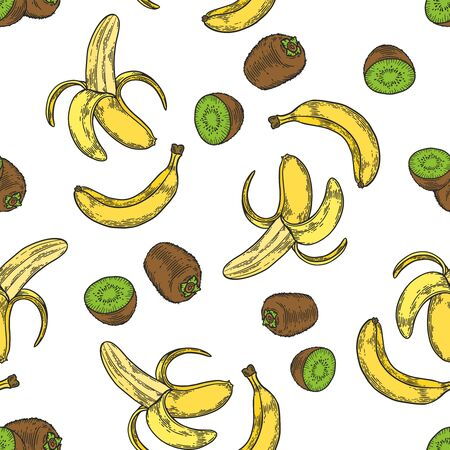 Vector  banana and kiwi fruit  engraving seamless pattern on white background. Vintage hand drawn illustration for menu, ads