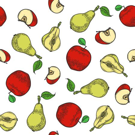 Vector  apple and pear  engraving seamless pattern on white background. Vintage hand drawn illustration for menu, ads