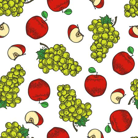 Vector  apple and grape  engraving seamless pattern on white background. Vintage hand drawn illustration for menu, ads