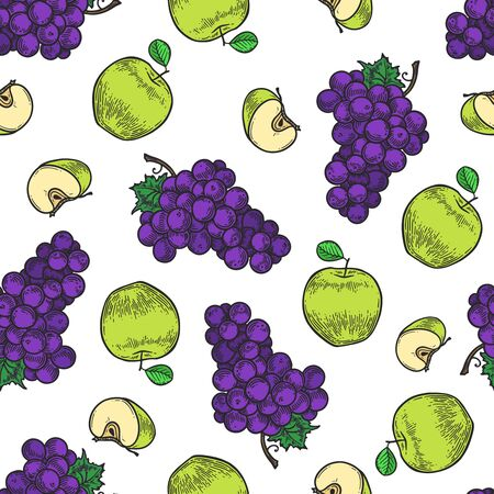 Vector  apple and grape  engraving seamless pattern on white background. Vintage hand drawn illustration for menu, ads Banco de Imagens - 143930110