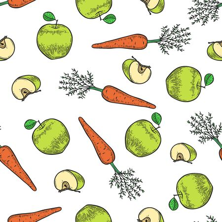 Vector  apple and carrot  engraving seamless pattern on white background. Vintage hand drawn illustration for menu, ads