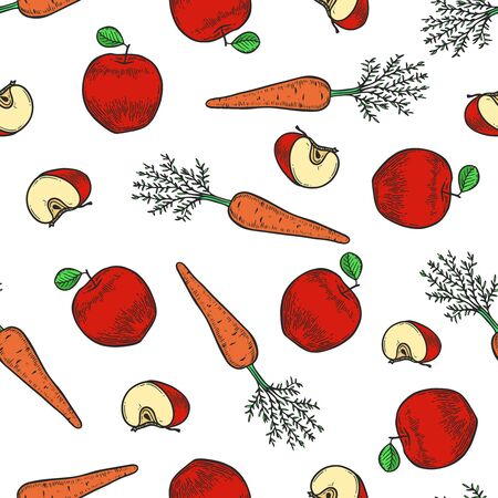 Vector  apple and carrot  engraving seamless pattern on white background. Vintage hand drawn illustration for menu, ads Banco de Imagens - 143930112