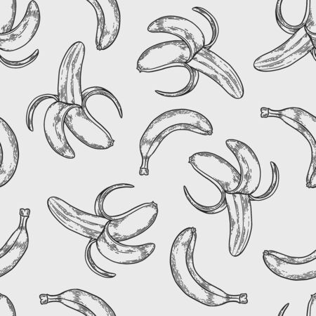 Vector  banana engraving seamless pattern on white background. Vintage hand drawn illustration for menu, ads