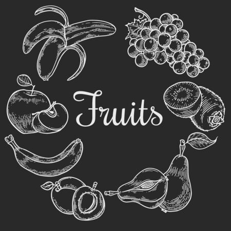 Vector  engraving fruit wreath on black  background. Vintage hand drawn illustration for menu, ads Banco de Imagens - 143824472