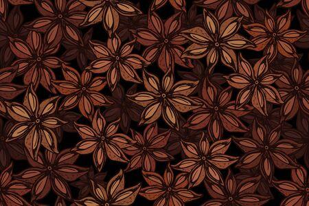 Vector  star anise engraving seamless pattern on black background. Vintage hand drawn illustration for menu, ads. Exotic spice. Ilustração