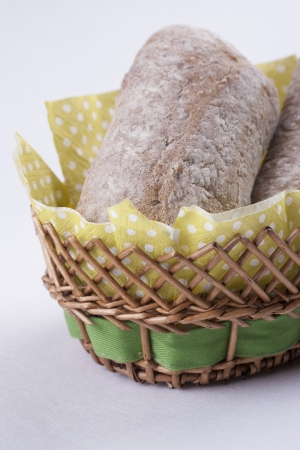 macrophotography: Close up photo of a roll in a basket Stock Photo