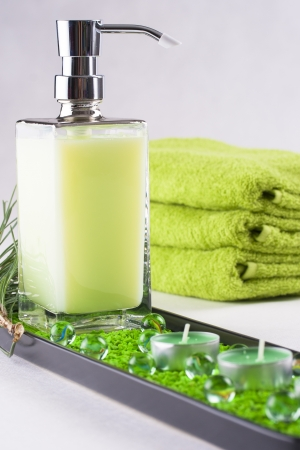 liquid soap: Be clean - fresh and clean - bottle of a green liquid soap