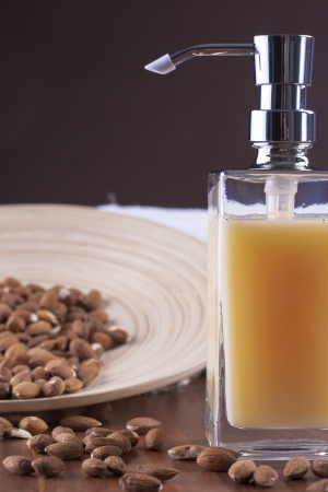 liquid soap: Be clean - fresh and clean - bottle of a orange liquid soap Stock Photo