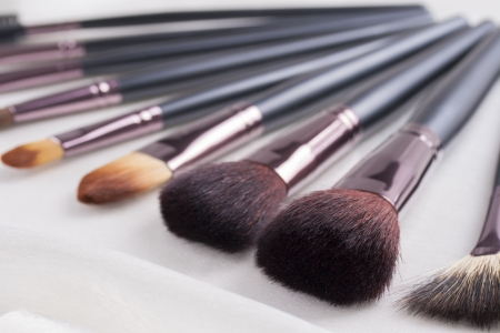 Absolutely womans must-have an make-up brushes set - different sizes and shapes Stock Photo