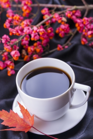 Autumn style close up photo of a hot coffee cup with a tree branch in the back, autumn leaf over a dark satin background.