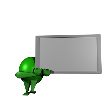 Green Robot,White board photo
