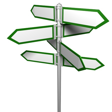 future sign: Blank signpost(Precise clipping path included for easy background change)