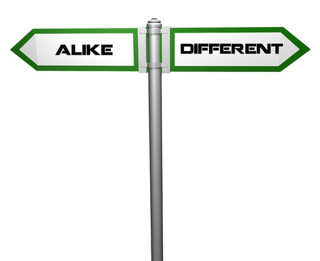 alike: alike and different,signpost Stock Photo